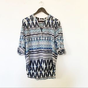 Dex Blues Tribal Print Mandarin Collar Blouse